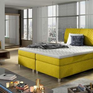 JUSTyou Toledo Boxspringbett Continentalbett Amerikanisches Bett Doppelbett Ehebett Gästebett Gelb 140x200