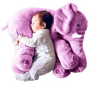 EXQULEG Weiches Plüsch Elefant Kissen Kids Lendenkissen Spielzeug,Plüschtier (53 * 45 * 25cm) (lila)