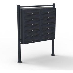 12er Briefkastenanlage Schwarz 2x6 Fächer Standbriefkasten Postfach Briefkasten Postkasten - WILTEC