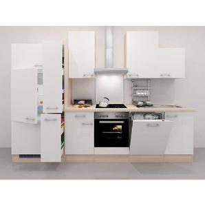 Flex-Well Exclusiv Küchenzeile Abaco 310 cm Perlmutt glänzend-Akazie Nachbildung