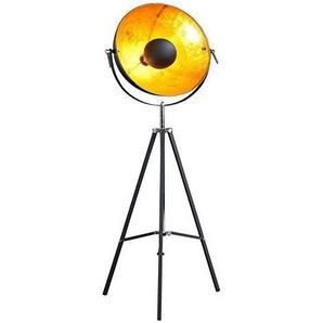 DuNord Design Stehlampe Stehleuchte CINEMA 160cm schwarz / gold Retro Design Lampe Spotleuchte