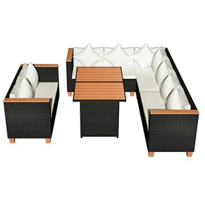 vidaXL Garten Essgruppe 27-TLG. Poly Rattan WPC Schwarz Lounge Set Gartenmöbel