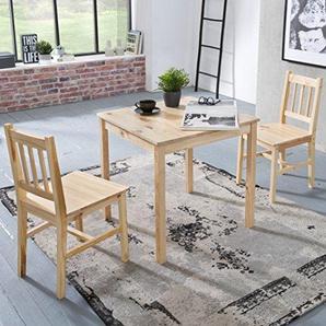 FineBuy Esszimmer Set Emilio 3 Teilig Kiefer Holz Landhaus Stil 70 X 73 X  70 Cm | Natur Essgruppe 1 Tisch 2 Stühle | Tischgruppe Esstischset 2  Personen ...