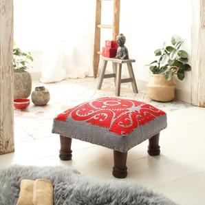 Home affaire Hocker aus schönem Baumwollstoff und edlen Stickereien, »Javed«