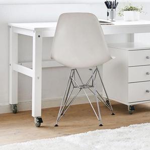 Schreibtisch Kids Heaven rollbar, weiß mit Holzstruktur - BETTEN.de