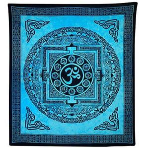Tagesdecke Om Mandala türkis Baumwolle Wandbehang Dekoration