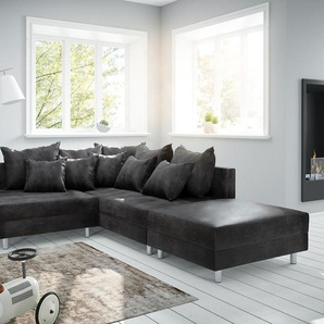 Ecksofa Clovis Anthrazit Antik Optik Modular Hocker Ottomane Rechts, Design Ecksofas, Couch Loft, Modulsofa, modular
