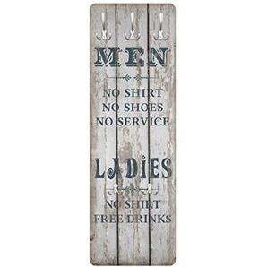 mantiburi Design Garderobe MDF Holz No.RS181 Men and Ladies Wand Haken Leiste Flur Diele Schrift