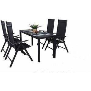 Garten Sitzgruppe, 5tlg., bestehend aus 1 x Ausziehtisch 127-165x57x71,5 cm und 4 Aluminium Klappstühle - TRENDY-HOME