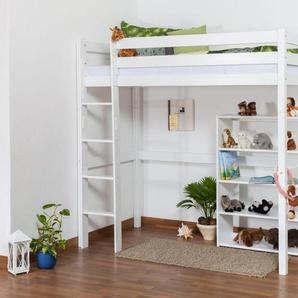 Kinderbett Hochbett / Kinderbett Dominik Buche Vollholz massiv Weiß lackiert inkl. Rollrost - 90 x 200 cm