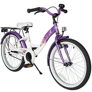 BIKESTAR Premium Sicherheits Kinderfahrrad 20 Zoll für Mädchen ab 6-7 Jahre ? 20er Kinderrad Classic ? Fahrrad für Kinder Lila & Weiß