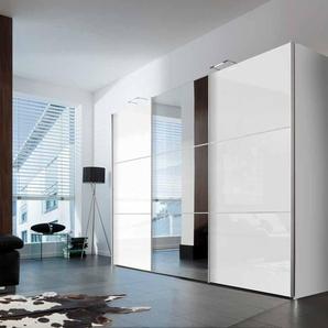 Schwebetürenschrank in weiß, Front in Hochglanz weiß und Spiegel, 3 Elemente mit je 1 Kleiderstange und Einlegeboden, Maße: B/H/T ca. 300/216/68 cm