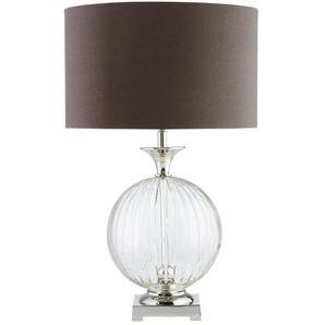 Lampe aus Glas mit Lampenschirm aus anthrazitfarbener Baumwolle