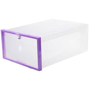 cuteco 1PC Aufbewahrungsbox Schuhkartons transparent Schublade Fall Kunststoff Schuh Boxen Aufbewahrung Organizer stapelbar Box violett