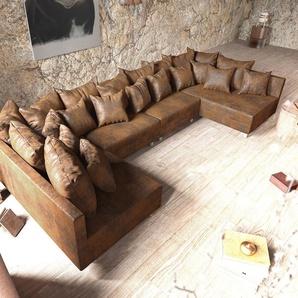 Wohnlandschaft Clovis XL Braun Antik Optik Modulsofa, Design Wohnlandschaften, Couch Loft, Modulsofa, modular