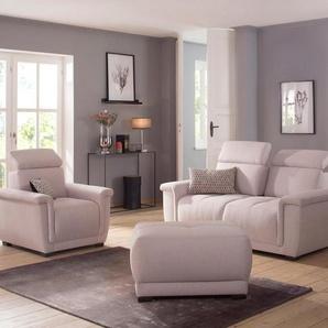 Home affaire 2-Sitzer »Brix«, mit Kopfteilverstellung, wahlweise mit Sitztiefenverstellung, rosa, Struktur fein