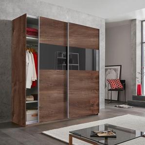 Schwebetürenschrank mit Glaselementen und zusätzlichen Einlegeböden »Bramfeld«, braun, BxHxT, Wimex
