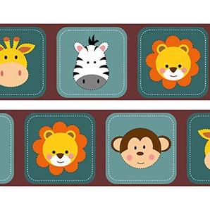 Kleisterbordüre Kleine Tierfreunde Afrika, 4-teilig 520x15cm, Tapetenbordüre, Wandbordüre, Borte, Wanddeko,Afrika, Baby
