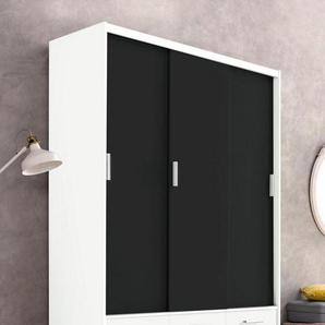 Kleiderschrank, schwarz, 144 cm x 222 cm x 57 cm