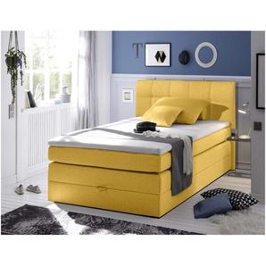 JUSTyou Albany I Boxspringbett Continentalbett Amerikanisches Bett Doppelbett Ehebett Gästebett 120x200 cm Gelb