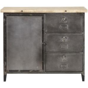 Buffet mit 1 Tür und 3 Schubladen aus Metall und Recycling-Kiefernholz Fulton