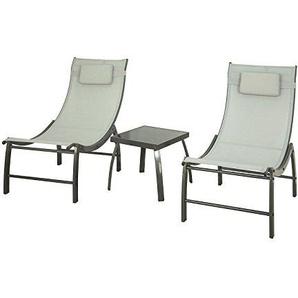 SoBuy OGS37-HG 3 teilige Gartengruppe mit Einem Tisch und 2 Stühlen Gartenmöbel Set Balkonset Sitzgarnitur mit Gartentisch rechtecking aus Glas