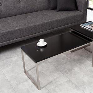 Design Couchtisch NOBILE 2er Set 100cm schwarz matt Edelstahl gebürstet