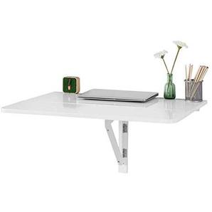 SoBuy FWT02-W Küchentisch, Wandklapptisch, Esstisch, Schreibtisch, 2X klappbar, Weiß 80x60cm