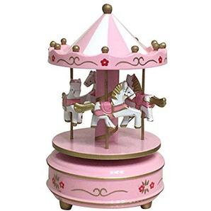 THEE Klassisches Holz Karussell Spieldose Spieluhr mit Musik Pferd Dekoration Kinder Geburtstagsgeschenk Weihnachtsgeschenk