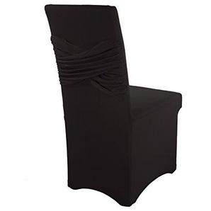 Smartfox Stuhlhusse Stuhlbezug Überzug Strechhusse Spannbezug Mikrofaser mit Schärpe in Schwarz