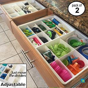 Uncluttered Designs Verstellbare Schubfächer Trennfächer Für Aufbewahrung & Ordnung In Schubladen (2er Pack)
