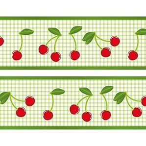 Kleisterbordüre Kirsche, 4-teilig 520x15cm, Tapetenbordüre, Wandbordüre, Borte, Wanddeko,Cherry, Retro