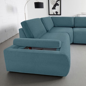 Inosign Ecksofa, blau, B/H/T: 230x43x68cm, hoher Sitzkomfort, FSC®-zertifiziert
