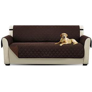 PETCUTE Luxus Gesteppte Stuhlabdeckung Sofabezug Anti-Rutsch Extra Weich Alle Größen Braun