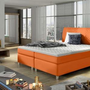 JUSTyou Athan Boxspringbett Continentalbett Amerikanisches Bett Doppelbett Ehebett Gästebett Orange 160x200