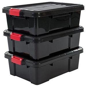 IRIS, 3er-Set Aufbewahrungsboxen Power Box, SK-230, mit Klickverschlüssen, Plastik, schwarz, 25 L, 59 x 38,5 x 18 cm