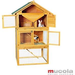 Hasenkäfig Kaninchenkäfig Villa Holz Nager Hasen Stall Gehege Kleintierstall - MUCOLA