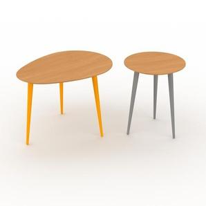 Couchtisch Buche, Holz - Eleganter Sofatisch: Beste Qualität, einzigartiges Design - 67/40 x 47/50 x 50/40 cm, Konfigurator
