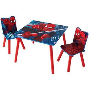 Spider Man Set aus Tisch und 2 Stühlen für Kinder, Holz, Red and Blue, 63 x 63 x 52.5 cm