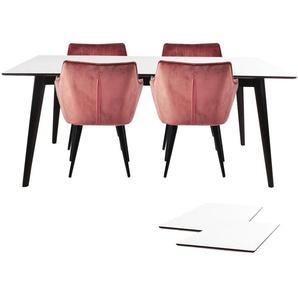 Essgruppe | Esstisch Weiß mit 4 Samt Stühlen Rosa - Nora