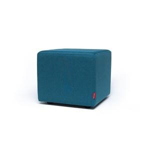 Sitzwürfel Hocker Würfelform mit Stoffbezug tuerkis blau Webstoff - Höhe 38cm Breite circa 43cm Tiefe circa 43cm, gute Verarbeitung