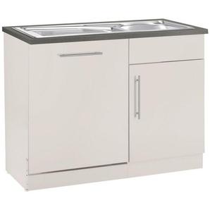 wiho Küchen Spülenschrank »Cali« 110 cm breit, inkl. Tür/Sockel für Geschirrspüler, beige