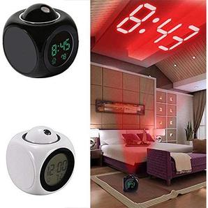 Yukio HomeFun - Projektionswecker/Digitaler Wecker/Radiowecker mit Funkuhr,Sprachsteuerung, Innentemperaturanzeige und Datumsanzeige Praktisch Deko für Schlafzimmer Wohnzimmer und Büro (Schwarz)
