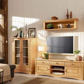 Home Affaire Wohnwand », bestehend aus 1 Vitrine klein, 1 Vitrine groß, 1 Lowboard«, beige, pflegeleichte Oberfläche, FSC®-zertifiziert
