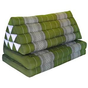 Wilai Kapok Thaikissen, Yogakissen, Massagekissen, Kopfkissen, Tantrakissen, Sitzkissen - Grün (Kissen mit zwei Auflagen XXL 79x49x46 (81817))