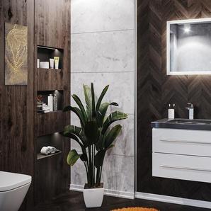 Badmöbel Granit India Black Damo 100 2 Hahnlöcher weiß hochglanz & LED Spiegel