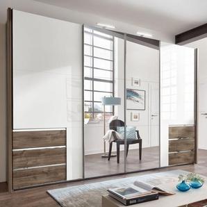 Weißer Hochglanz-Kleiderschrank mit Spiegel und Schubladen - Neto