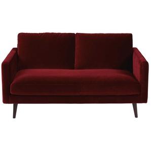 2-Sitzer-Sofa mit bordeauxrotem Samtbezug Kant
