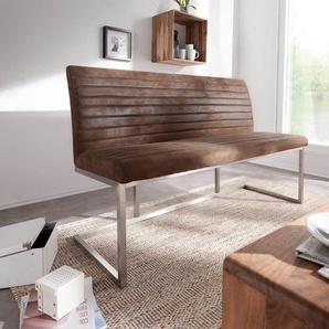 Sitzbank Earnest 140 cm Braun Vintage abgesteppt, Bänke