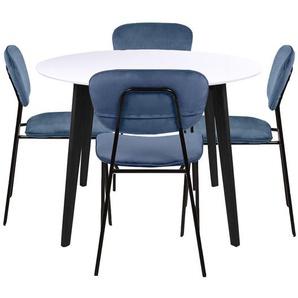Essgruppe | Esstisch Rundt Weiß mit 4 Stühlen Blau- Björk & Rose